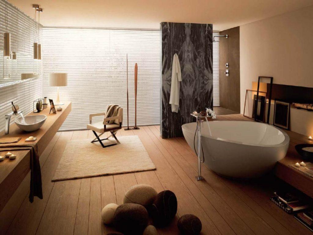 нюдовый интерьер просторной ванной комнаты