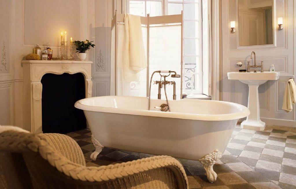 нюдовый интерьер роскошной ванной
