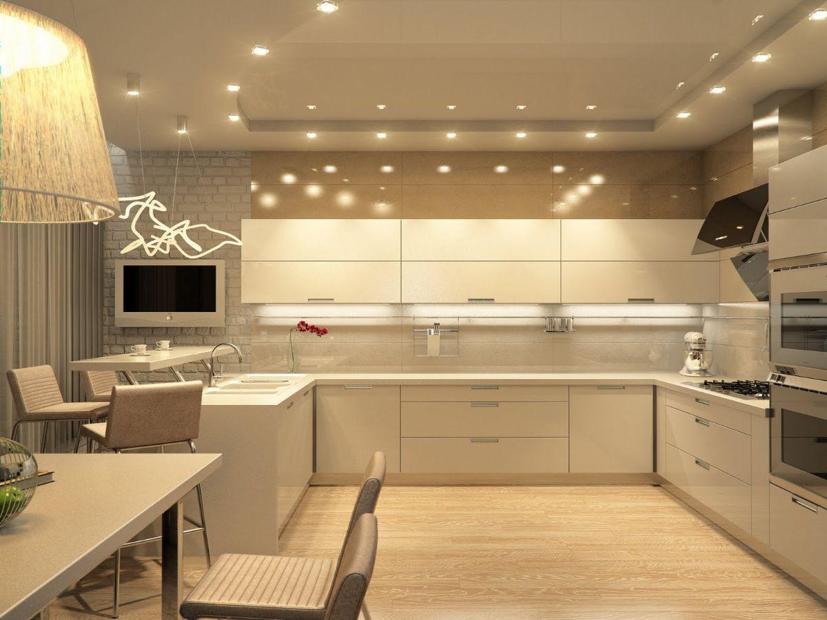 нюдовый интерьер современной кухни