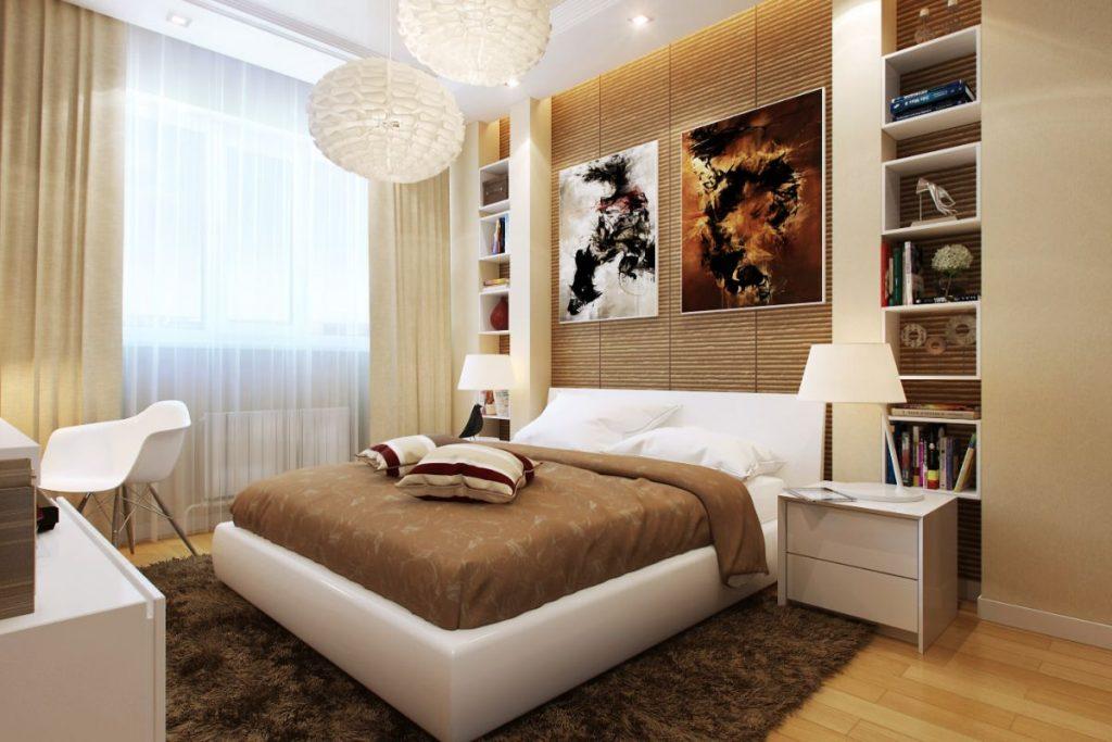 нюдовый интерьер спальни белая кровать