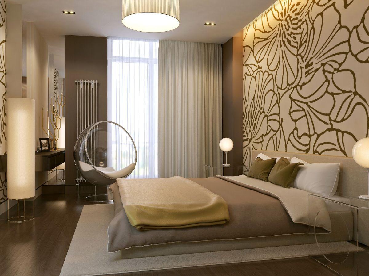 нюдовый интерьер спальни с акцентной стеной
