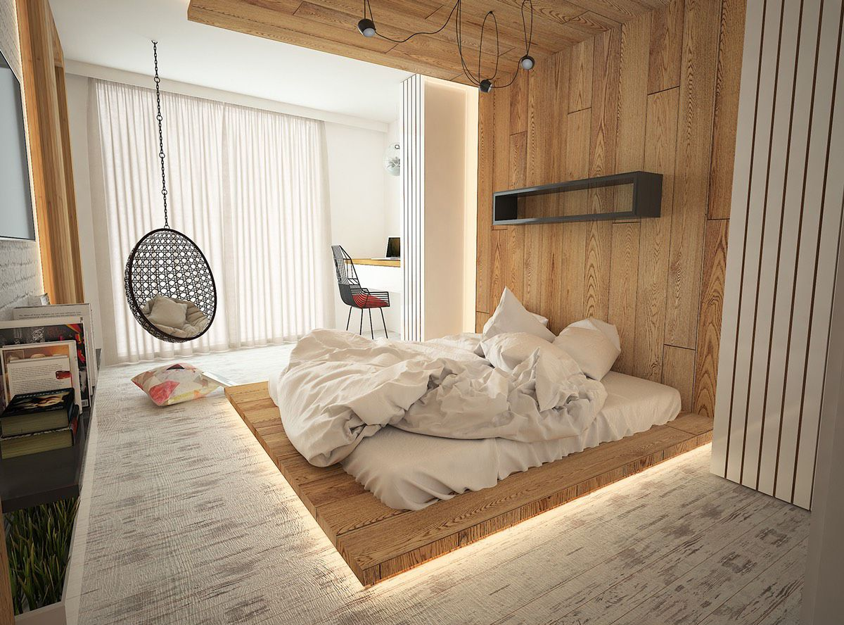 нюдовый интерьер спальни с эффектным спальным местом