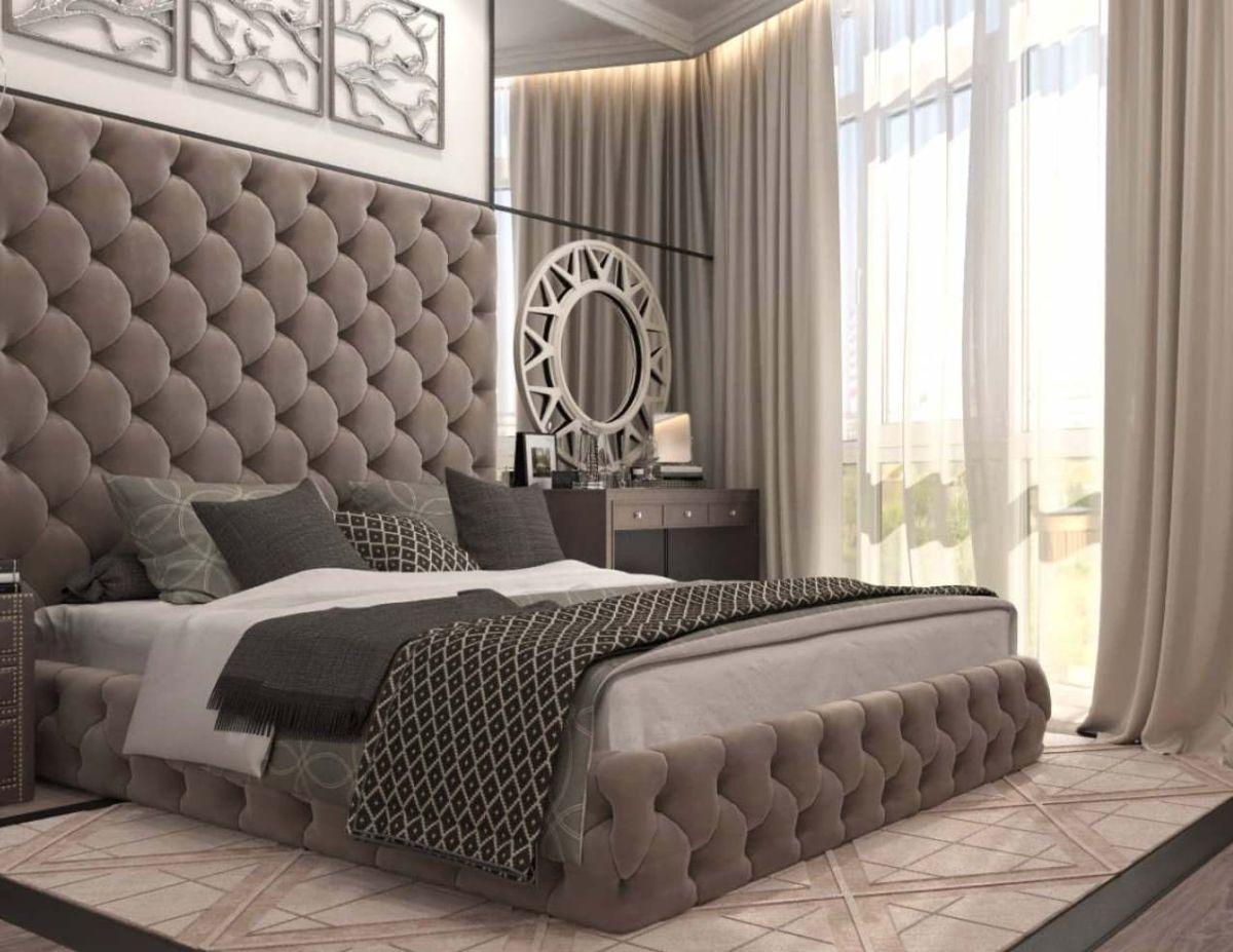 нюдовый интерьер спальни в кофейных тонах