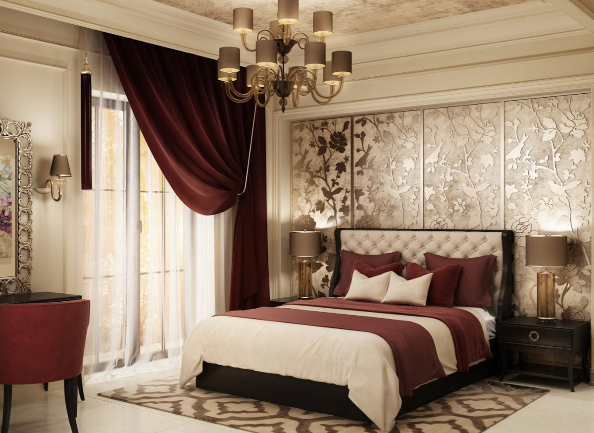 нюдовый интерьер спальни в стиле арт деко