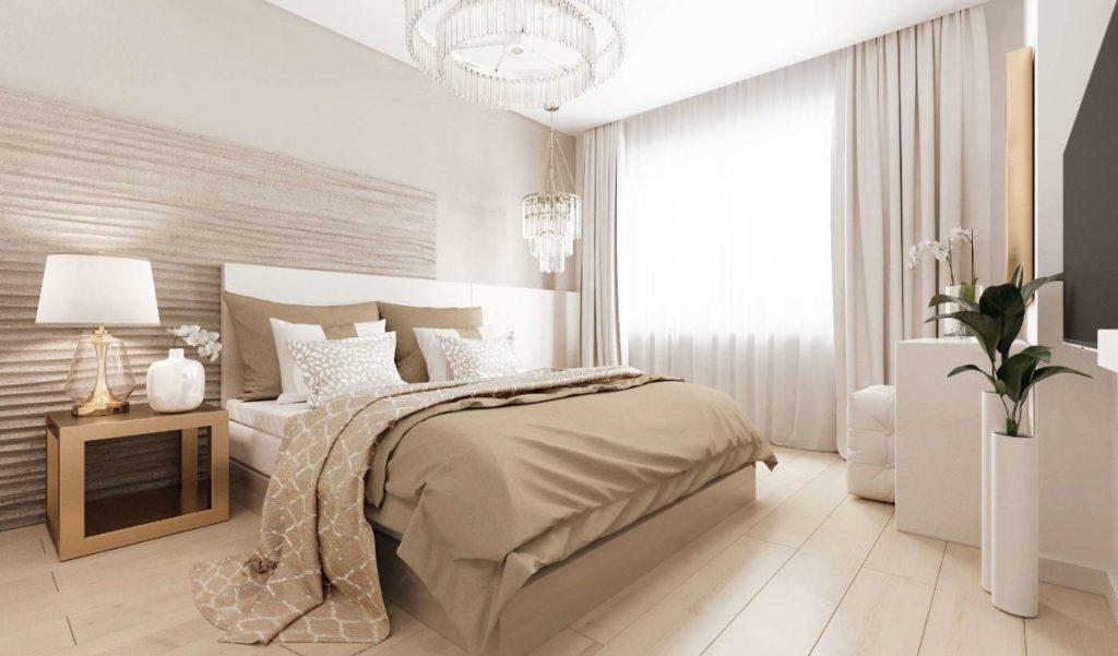 нюдовый интерьер спальни в светло-бежевых тонах