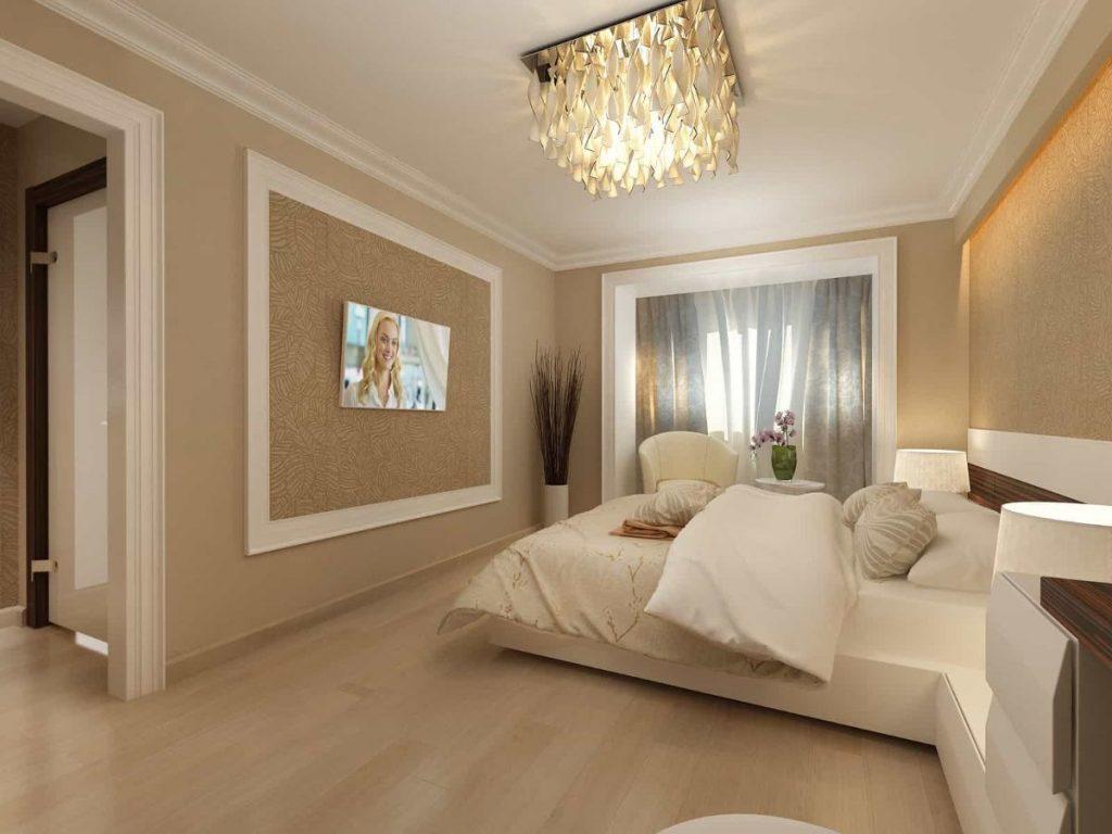 нюдовый интерьер спальни в теплых тонах