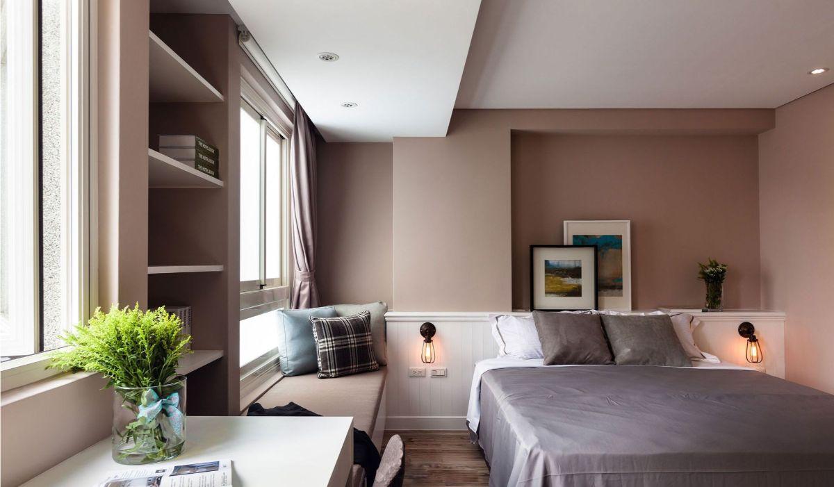 нюдовый интерьер спальня в бежево кофейном цвете