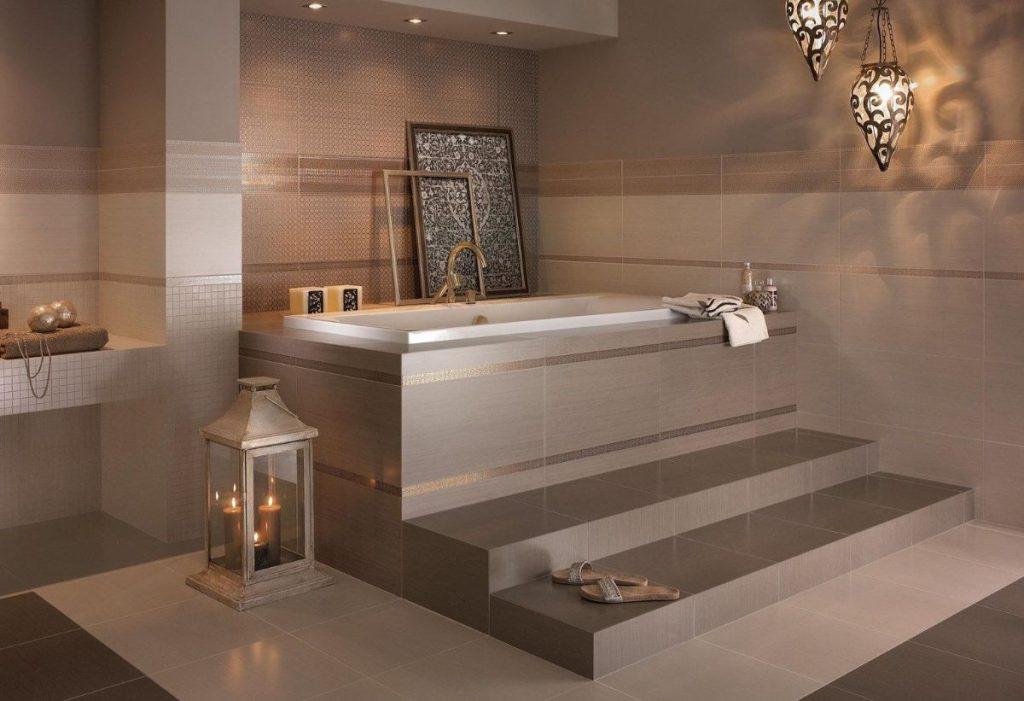 нюдовый интерьер ванной в кофейном цвете