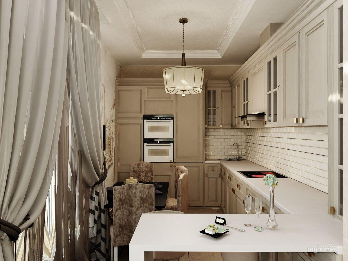 нюдовый интерьер вытянутой кухни