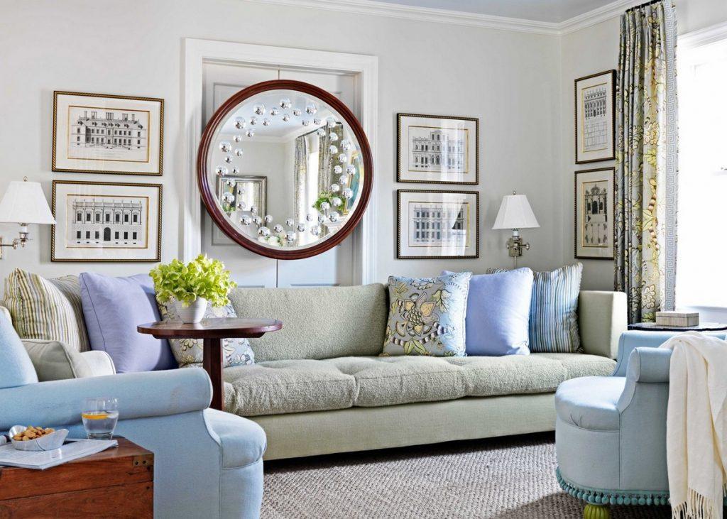 зеркало на стене в интерьере гостиная комната