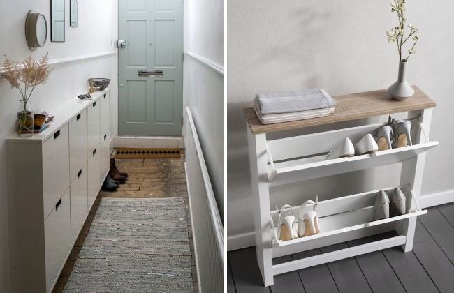 Мебель для хранения обуви в узкой прихожей