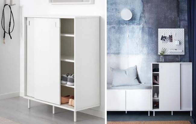 Удобный шкаф для хранения обуви с раздвижными дверцами