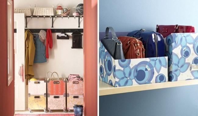 Самодельные ящики и корзины для хранения в прихожей