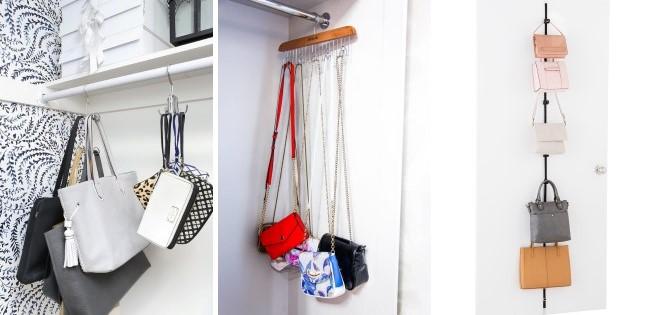 Самодельные органайзеры для сумок из карнизов, крючков и вешалок
