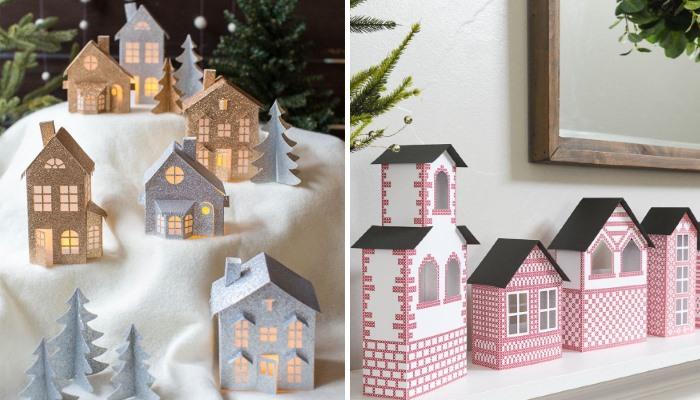 Стильные поделки из бумаги домики на Новый год