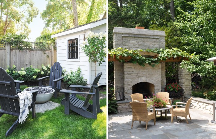 Варианты обустройства зоны отдыха во дворе с печью камином