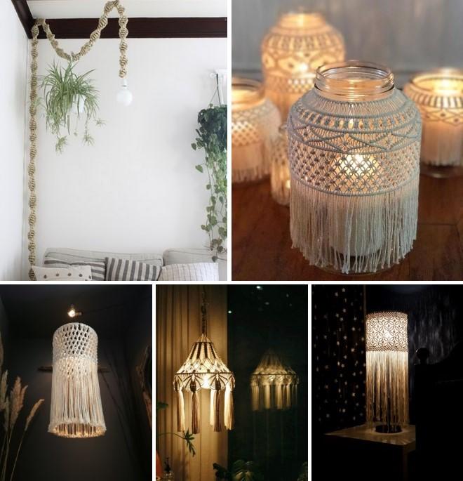 Абажур для лампы в стиле макраме - идеи с фото
