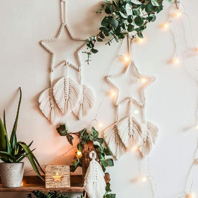 Декор макраме: звезды, листья, перья и другие модные идеи