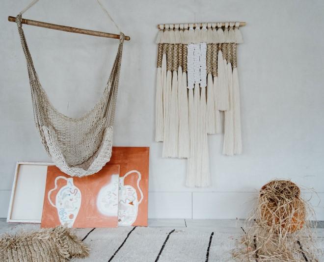 Макраме изделия для интерьера: гамак, панно, чехлы. Фото для вдохновения