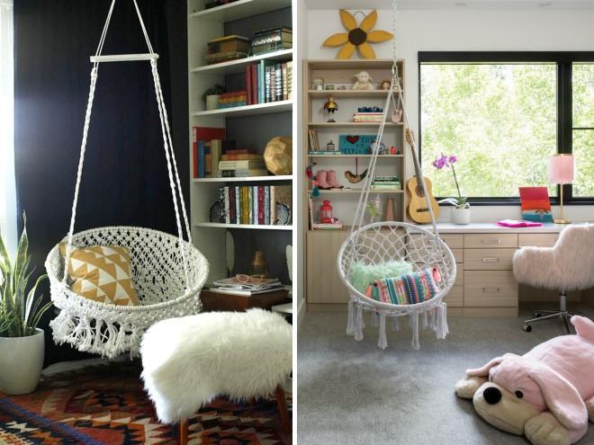 Подвесное кресло для детской макраме - идеи с фото в интерьере