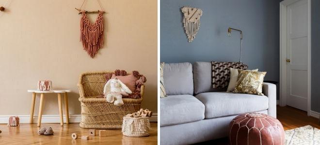 Маленькое красивое макраме на стену в гостиной - фото идеи в интерьере