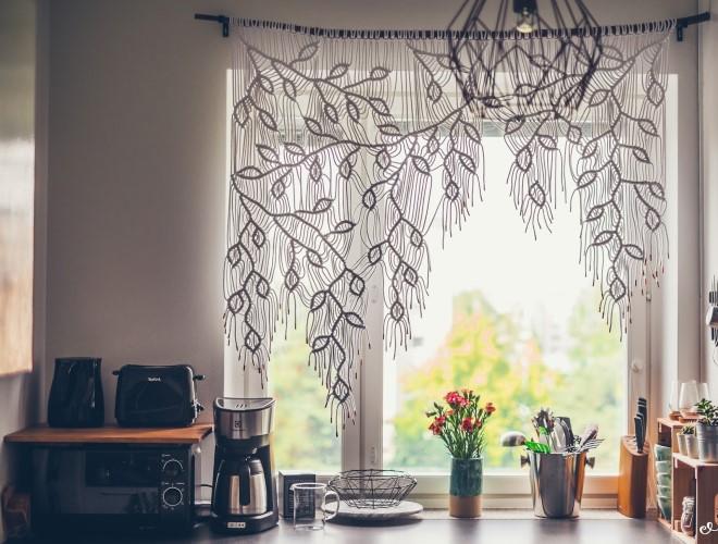 Как сделать шторы макраме для кухни своими руками + схема