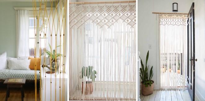 Шторы нити с плетением макраме - современные идеи для комнат