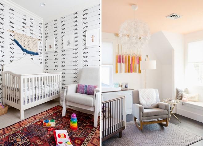Макраме панно на стене в интерьере детской - модные цветовые решения