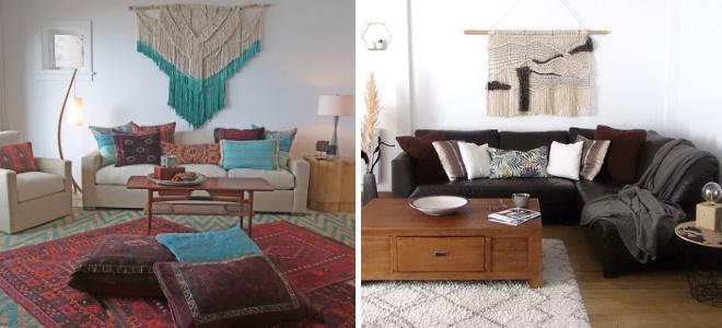 Макраме в стиле бохо хиппи в дизайне гостиной
