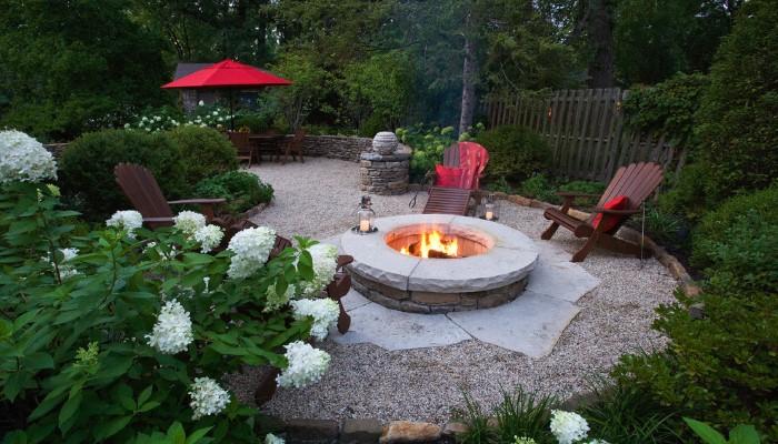 Камин и зона отдыха в дизайне двора дома в деревне