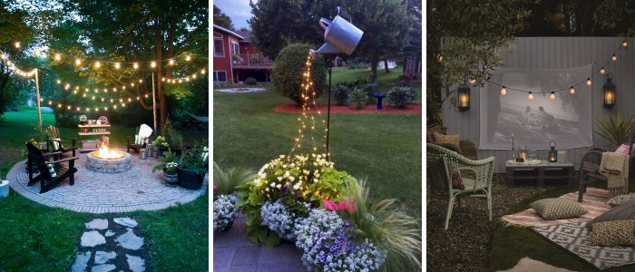 Освещение двора дома в деревне - идеи дизайна на фото