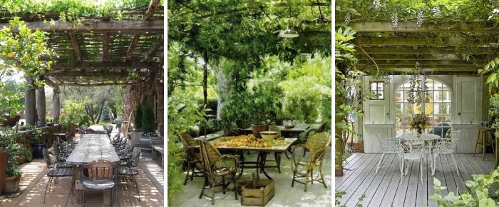 Деревянная пергола со вьющимися растениями