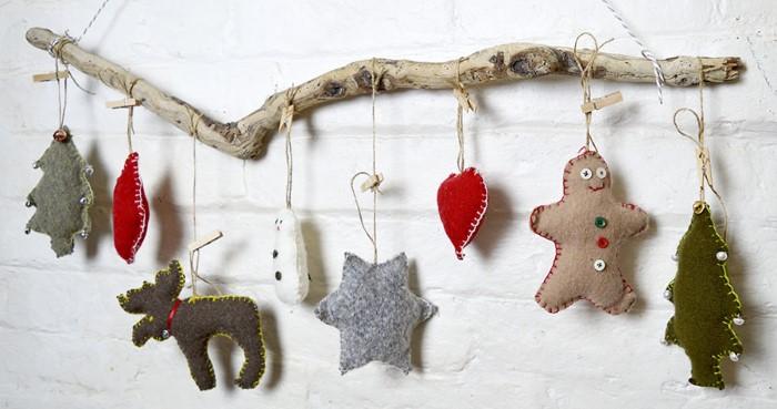 Новогодние украшения на ёлку из фетра своими руками