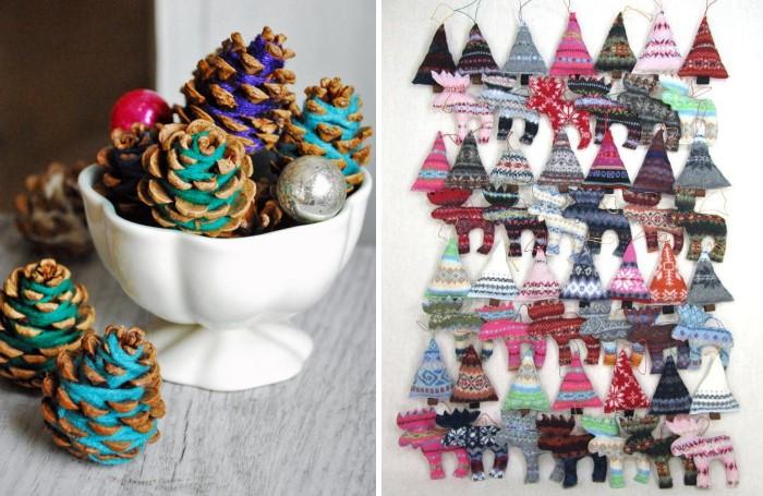 Новогодний декор из ниток для вязания своими руками
