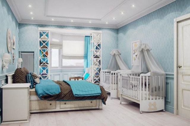 детский уголок для новорождённого в однокомнатной квартире для двоих детей