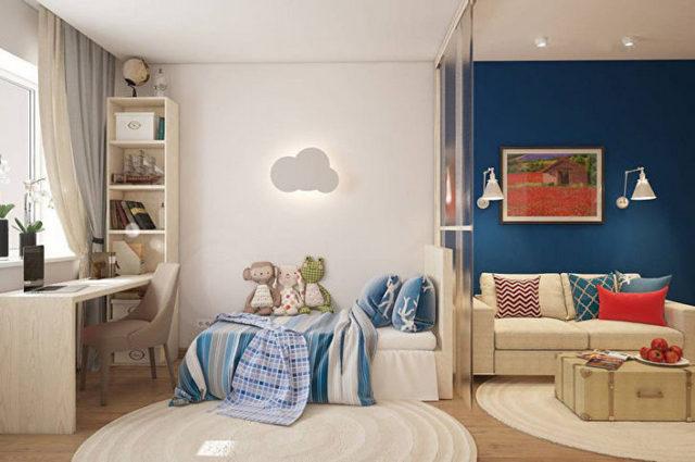 детский уголок в однокомнатной квартире пример
