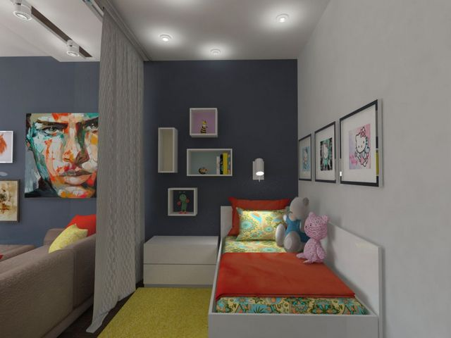 как отгородить детскую кроватку в однокомнатной квартире фото