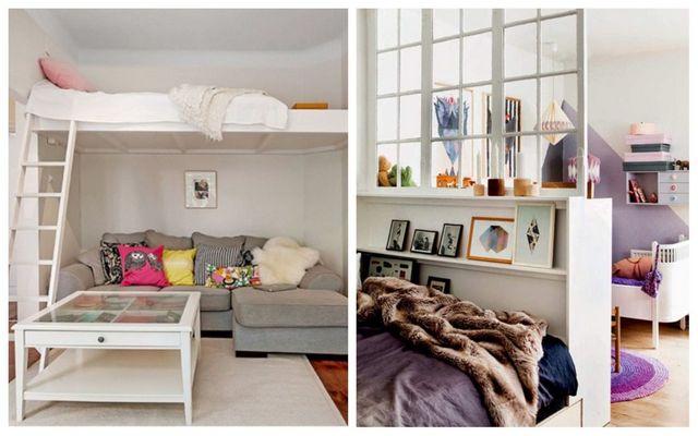 детская зона в однокомнатной квартире два спальных места