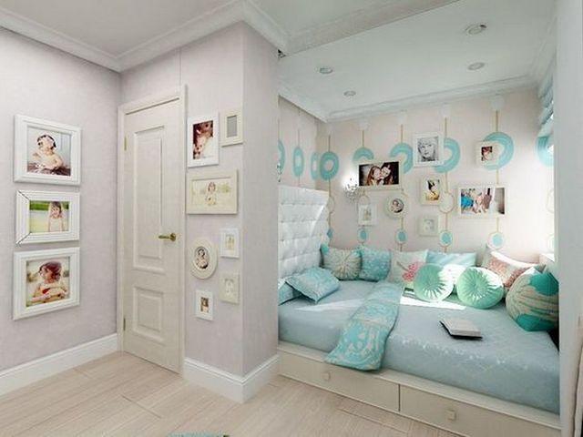 детская зона в однокомнатной квартире в пастельных тонах