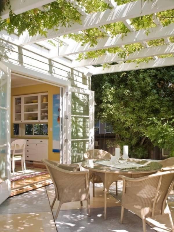 дизайн маленького двора частного дома с верандой