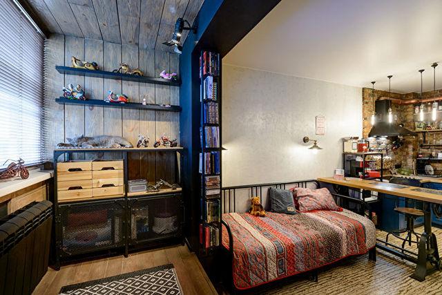 дизайн маленькой квартиры в стиле лофт пример зонирования