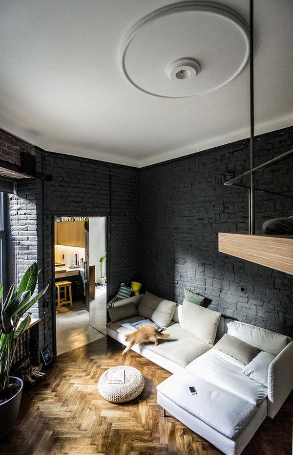 интерьер в стиле лофт в маленькой квартире пример