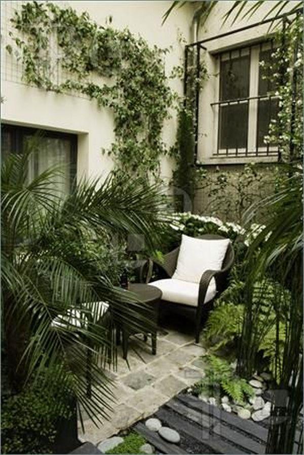 красивый озеленённый двор частного дома
