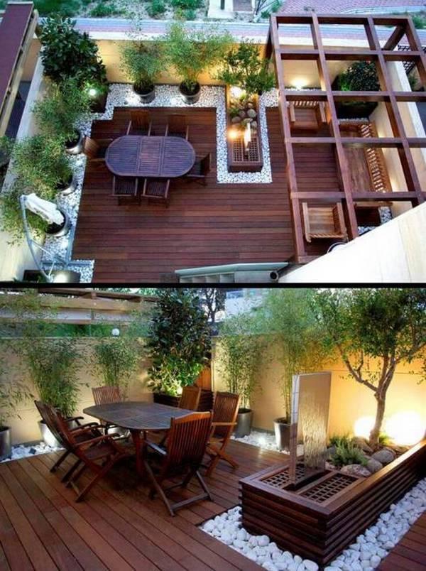 лаконичный дизайн маленького двора частного дома