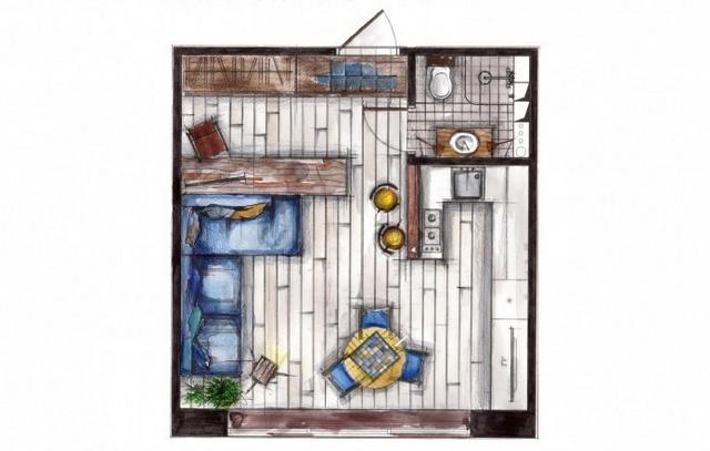 маленькая квартира в стиле лофт дизайн проект