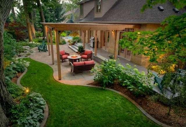 оригинальный современный дизайн двора частного дома