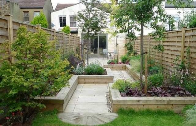 озеленение маленького двора частного дома клумбами
