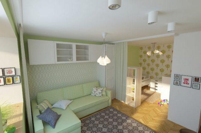 светлый уголок для ребёнка в однокомнатной квартире фото