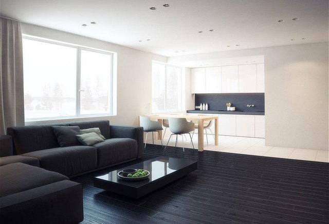 чёрно-белая кухня в стиле минимализм фото пример