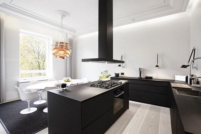 чёрно-белая кухня в стиле минимализм фото
